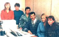 Слева направо: Т.И. Попиначенко, Г.И. Полякова, к.б.н. Т.В. Копылова, к.б.н. В.Г. Костоусов (зав.лаб.), И.И. Оношко, Т.Л. Прохорова
